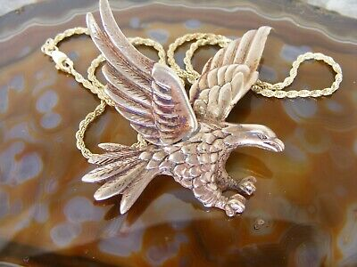 Southwest Vintage Large Flying Bald Eagle Sterling Silver Brooch Chain Necklace Chain Sterling Silver Brooch