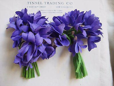 2 Bu Great Antique Vintage Purple Violet Nosegay's Millinery Hat Flower UNUSED