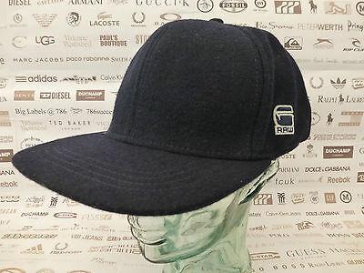 G-STAR RAW Flat Brim Cap OTIS Mar Blue Wool Blend Hat O/S-Fitted Caps New R£45 Flat Brim Fitted Wool Cap