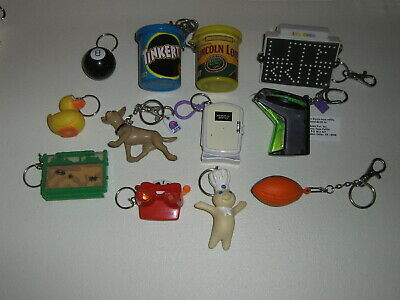 Lot of 12 vintage 1996-2000 Toys and Nostalgia keychains Doughboy Taco Bell