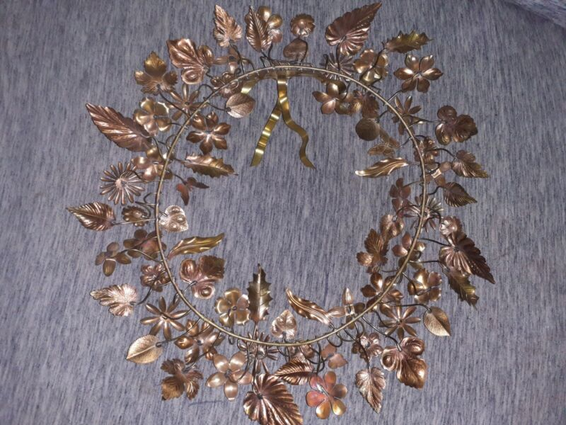 """Vintage Dresden Petite Choses18"""" Brass Holiday Wreath w/ Leaves & Flowers"""