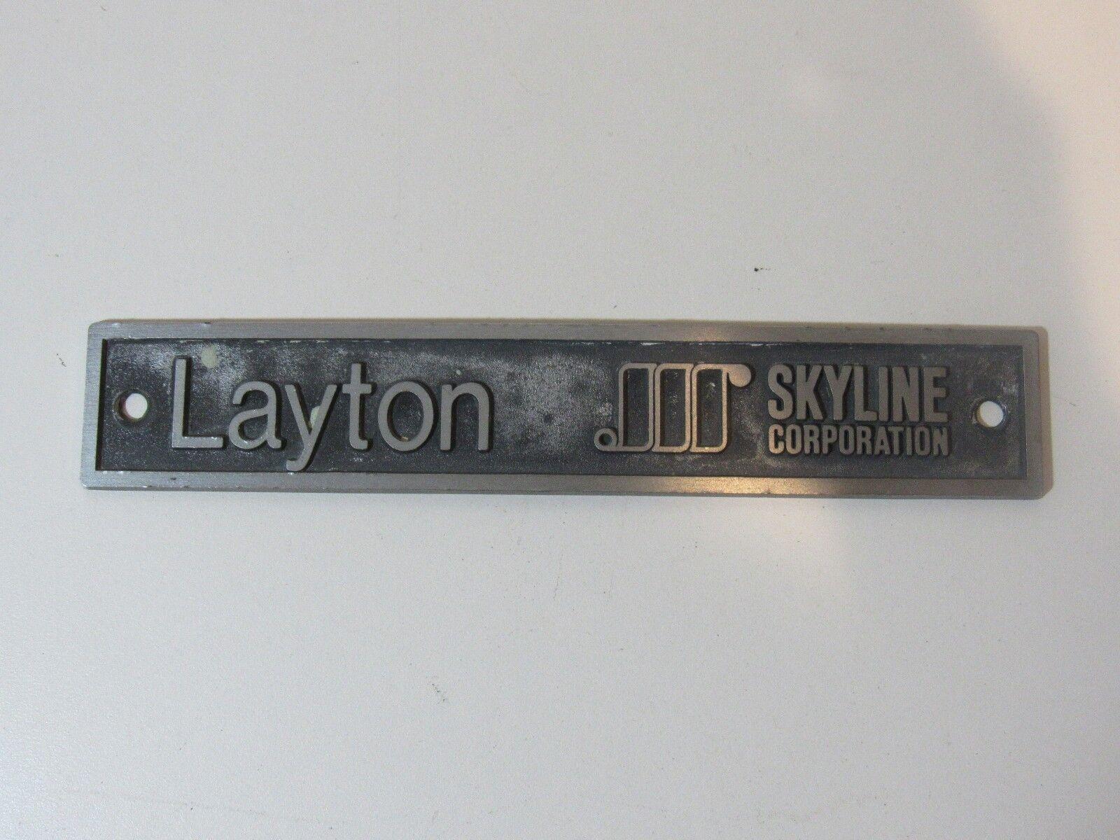 Vintage Latyton Skyline Travel Trailer Emblem Nameplate Ornament RV Airstream