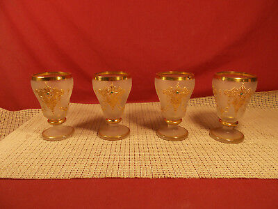 """Nice Vintage Set of 4 Small 4 1/4"""" Wine Gobets Frost with Gold Applique Design"""