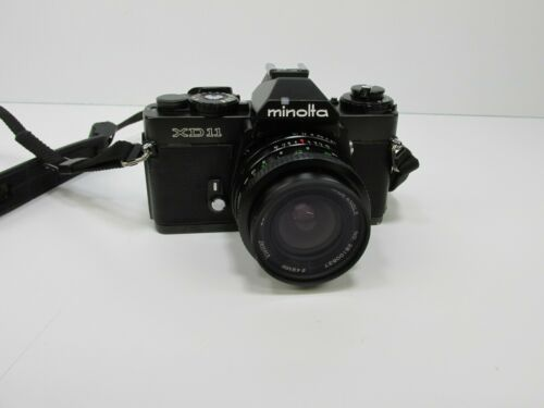 Black Minolta XD11 35mm Film SLR Camera untested with lens AS IS