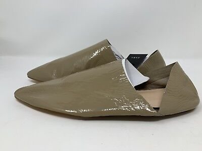 Zara Women's Patent Leather Babouches Flats Shoes EU 39 US 8 Taupe Creased NWT
