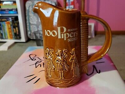 Vintage Seagrams 100 Pipers Scotch Pub Jug Bar Pitcher Embossed Pipers
