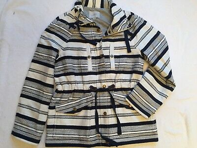 NWOT A. T. LOFT Petite Sailing COAT Jacket Navy Ivory Zip Snaps Cinch Ties S