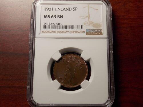 1901 Finland Russia 5 Pennia coin NGC MS-63 BN