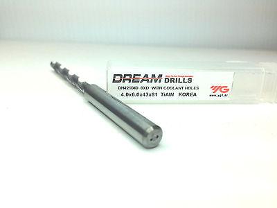 Dh421040-1 Carbide Dream Drill With Coolant Holes 8xd 4.0 X 6.0 X 43 X 81 Tiain