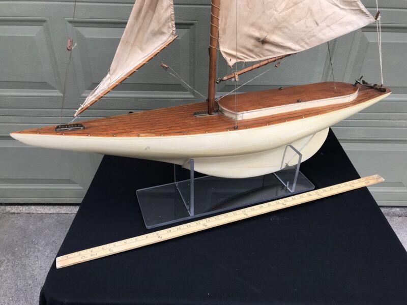 "Lg Vintage Sailboat Pond Model 40""L Hand Crafted Wood Hull Metal Keel Old Sails"