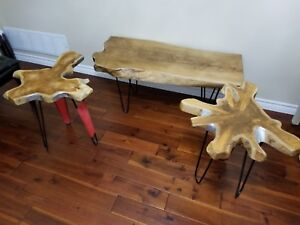 Rustic Live edge coffee table with 2 end tables