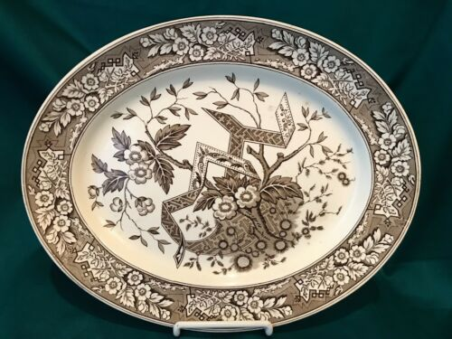 "Aesthetic Transferware Oval Platter - ""Beatrice"" Brown & White"