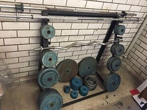 Gym Equipmet Bench Press, Bars, 186.5Kg Weights and Weight Stand Coorparoo Brisbane South East Preview