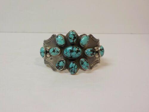 Vintage Sterling Silver & Cluster Work Turquoise Cuff Bracelet