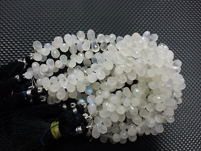 Natural Rainbow Moonstone Faceted Teardrop Briolette Gemstone Beads 4