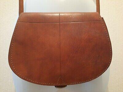 Small Vintage Tan Leather Saddle Bag