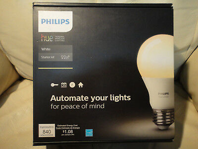 NEW PHILIPS HUE WHITE 455287 STARTER KIT 840 Lms Brand New, Sealed