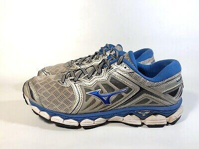 Mizuno Men's Wave Sky Running Shoes, Silver/Directoire Blue/Black, Size 9 Mizuno Black Shoes