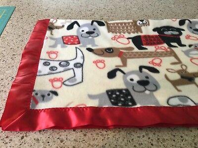Handmade fleece pet blanket, cute dogs!
