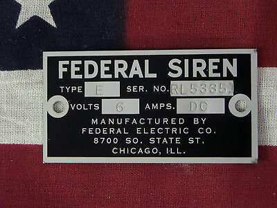 Federal Electric Co. Older Federal Siren Models E 8 Replacement Badge 6 Volt