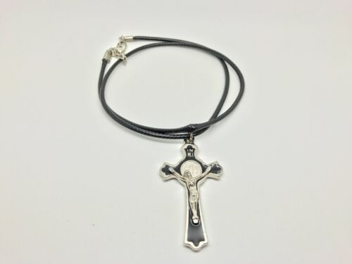 Black Cord Necklace with Black Crucifix