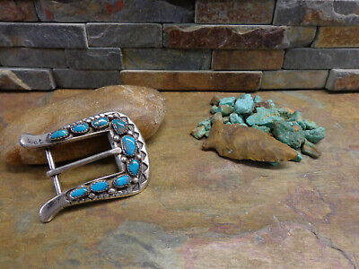 IULE STYLE NAVAJO SAND CAST STERLING 9 TURQUOISE BELT BUCKLE NATIVE OLD PAWN - Old Style Turquoise Buckle