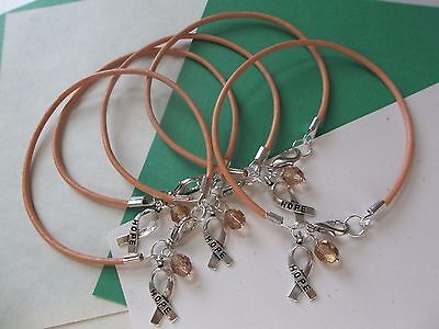 5-UTERINE CANCER AWARENESS PEACH 'HOPE' LEATHER BRACELETS - Cancer Awareness Bracelets