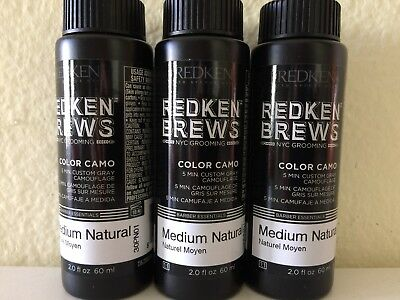 3 bottles REDKEN FOR MEN 5 minute color camo custom gray protein and quinoa oil - Customes For Men
