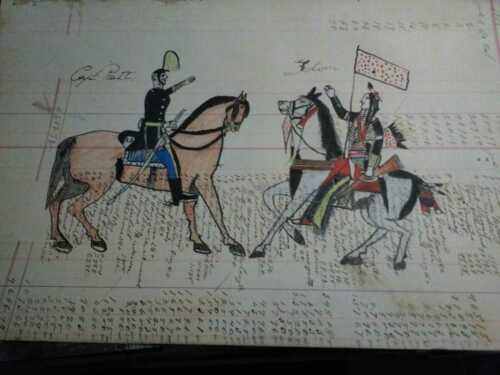 Original Native American Ledger Drawing - Lakota Sioux - 1905 -