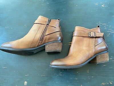 Vince Camuto Beamer Brown Leather Zip Ankle Boots Womens Size 9 1/2 B