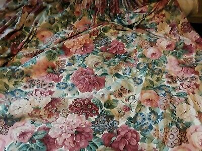 """Large Vintage Pair Sanderson Rose & Peony Lined Curtains Drapes 144"""" W X 58"""" L"""