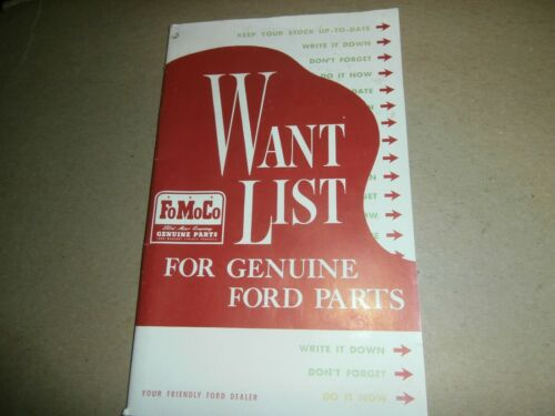 Vintage Ford FOMOCO Parts Want List Note Book