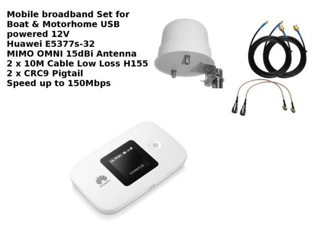 MIMO Mobile Broadband Antenna Booster Omni Boat Motorhome Huawei E5377 4G 3G 2G