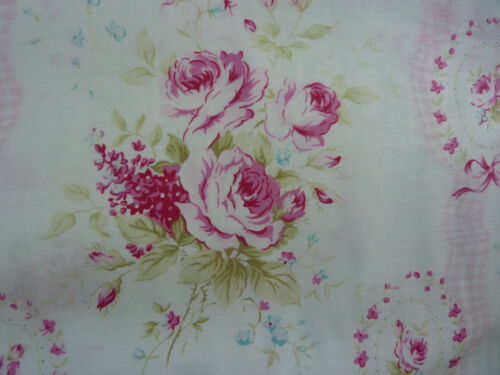 Yuwa Victorian Sweet Sue Pink Roses on White  Cotton Fabric Collectible HTF 1 Yd