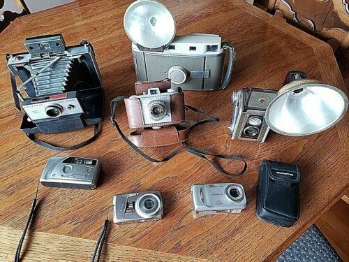 Vintage Camera Lot (7)  3 Kodak - 2 Olympus - 2 Polaroid
