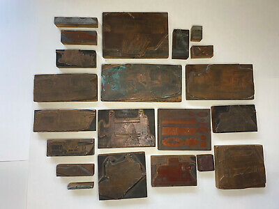 Lot Of 21 Vintage Cuts Printing Block Letterpress Blocks