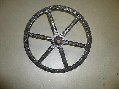 Antique Vintage Cast Iron Wheel with integral spindlle, Barrow Cart Wheel Garden