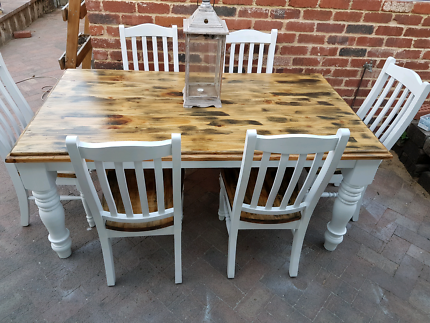 THE GREEN LOFT - RUSTIC FARMHOUSE FRENCH PROVINCIAL DINING TABLE