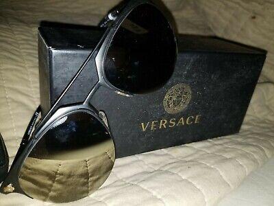 Versace TUBULAR GREEK VE 2181 Matte Black/Light Brown Gold (1261/5A) Sunglasses