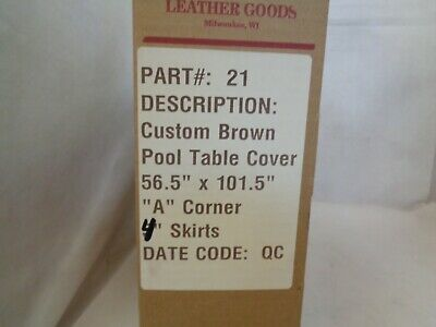 NEW HOOD LEATHER GOODS PART #21 POOL TABLE COVER BROWN LEATHER 56.5