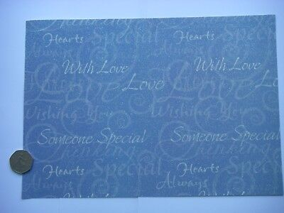 Job Lot 4 SPECIALIST SHEETS A4 PATTERNED GLITTER CARD With Love SOMEONE SPECIAL