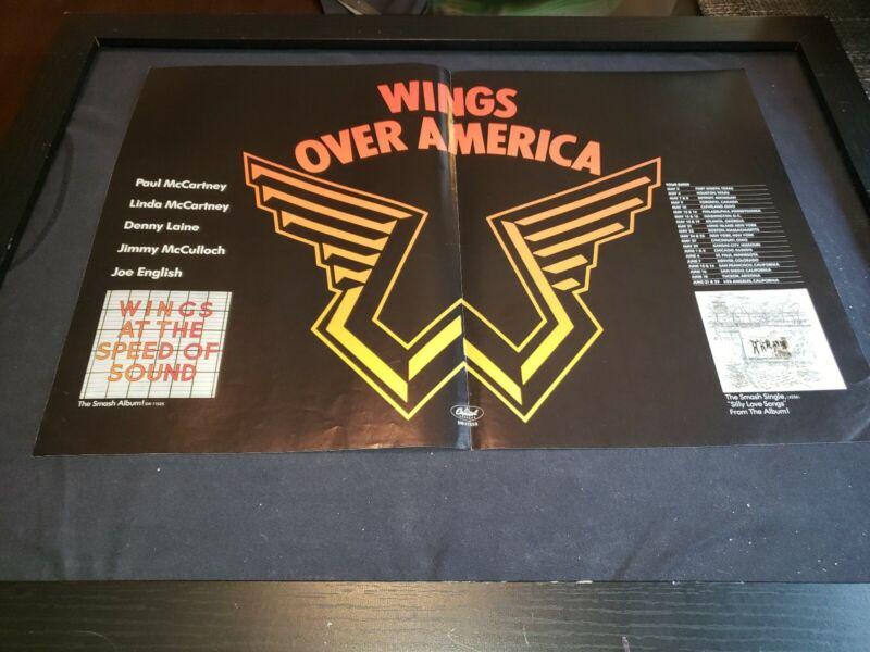 Paul McCartney Wings Over America Tour Rare Original Promo Poster Ad Framed!