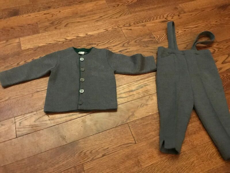 Vintage German Wool Loden Coat & Pants - Toddler