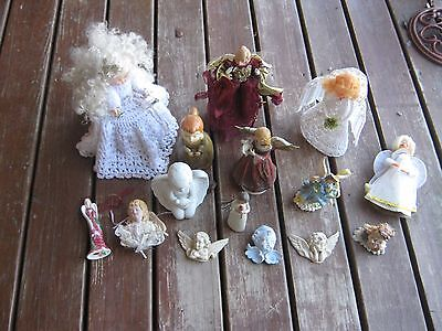lots 15 pcs Used Assorted Angels Christmas Ornaments Lordi 2002 Tree Topper Wall Assorted Angels Ornament