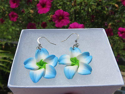 Frangipani Earrings Blue Green Vacation Cruisewear Hawaii Island Flower Dangle