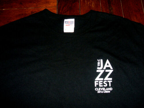 Tri-C Jazz Fest Cleveland 2016 CREW Black T-Shirt Medium Cuyahoga Comm College