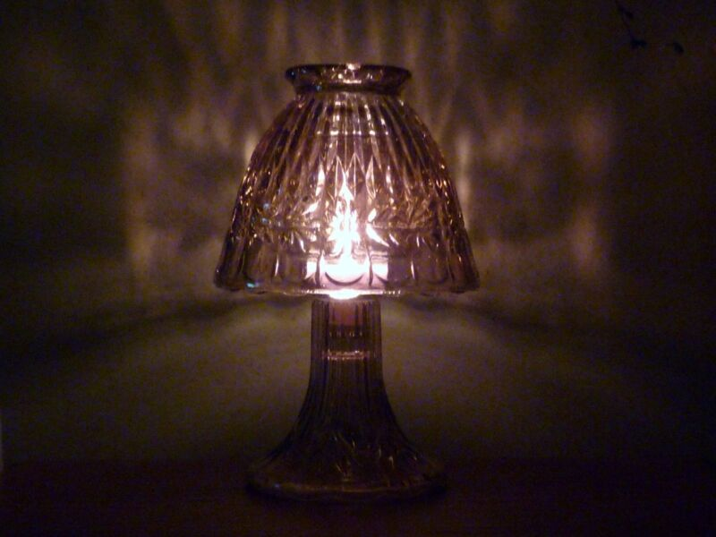 Vintage Home Interiors Crystal Tealight Lamp Iridescent Pink / Purple Preowned