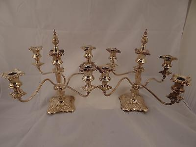 PAIR OF QUADRUPLE ARM 5 CANDLE CANDELABRA SILVER PLATE CANDLESTICKS