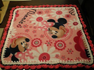 BABY GIRL PINK MINNIE MOUSE BLANKET PLUSH SECURITY LOVEY w/white/pink/ trim