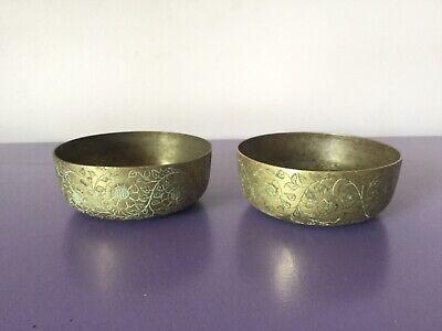 Pair Antique Brass Pots x2. Beautiful Detail.  Planter Vase Bowls. Flowers